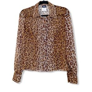 DOLCE & GABBANA leopard print sheer button up top